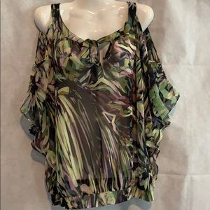 Jennifer Lopez open shoulders neck tie blouse SZ S